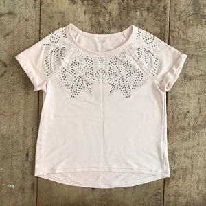 T Shirt Short Sleeve Studded High Low Blush Pink L